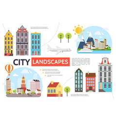 flat cityscape infographic template vector image