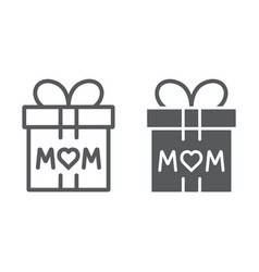 gift for mom line and glyph icon present and vector image