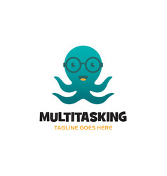 green smiling octopus logo with glasses and four vector image