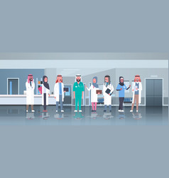 Group arabic doctors team treatment vector