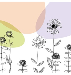 hand drawn flowers vector image