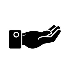 hand keep icon black sign on vector image