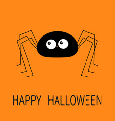 happy halloween black spider silhouette long paws vector image