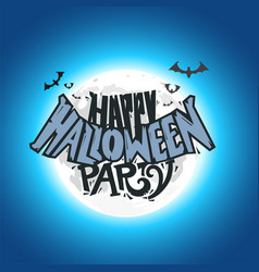 Happy halloween party card with moon vector