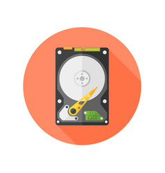 Hdd disk flat design isolated round icon vector