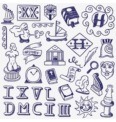 history doodles vector image