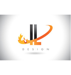 Il i l letter logo with fire flames design and vector