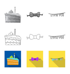 Isolated object of party and birthday sign set of vector