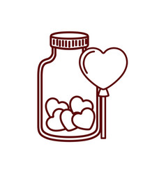 jar with hearts isolated icon vector image