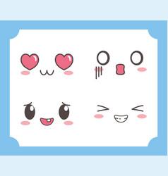 kawaii lovely adorable eyes mouths facial vector image