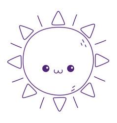 Kawaii sun cute cartoon isolated icon vector
