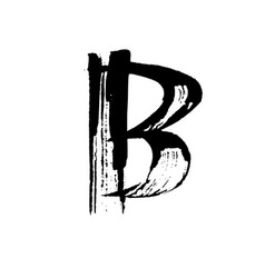 letter b handwritten by dry brush rough strokes vector image