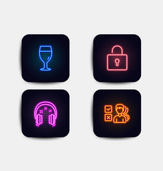 Lock beer glass and headphones icons opinion vector