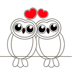 loving owls birds night drawn lines on white vector image