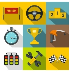 Machine race icons set flat style vector