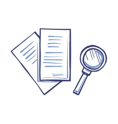 Magnifying glass and paper document with signature vector