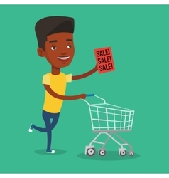 Man running in hurry to the store on sale vector