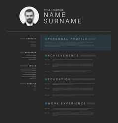 Minimalistic black cv resume template vector
