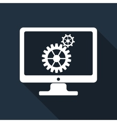 Monitor and gears flat icon with long shadow vector