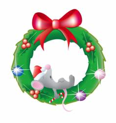 mouse sleeping in a wreath vector image