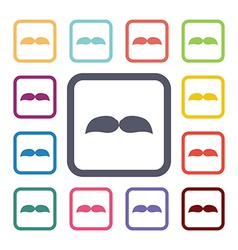 Mustache flat icons set vector