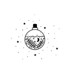 mystical poison with moon and stars stars vector image