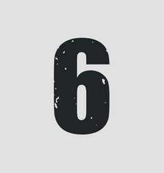 number 6 grunge style eps10 vector image