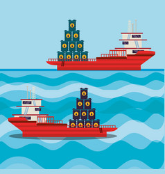 Oil industry with ship freighter vector