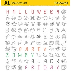 One hundred Halloween thematic linear icons set vector