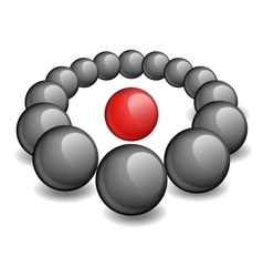 One red sphere is surrounded black vector image