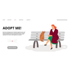 pets adoption landing page adopt me web banner vector image