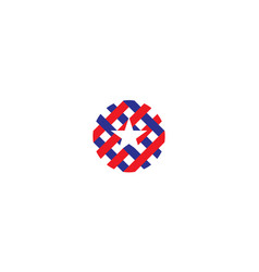 Political cross red and blue with star logo design vector