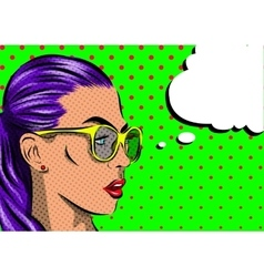 Pop Art Woman with sunglasses - on a polka-dots vector