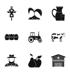 Ranch icons set simple style vector