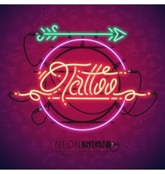Retro Neon Tattoo Sign with Arrow vector
