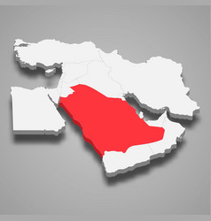 Saudi arabia country location within middle east vector
