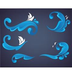 Sea and ocean wave vector
