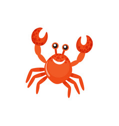 sea animal with raised claws smiling crab vector image