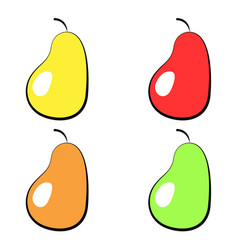 set of colorful icons pears on a white vector image