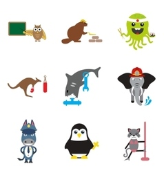 Set of flat icons on white background animals vector
