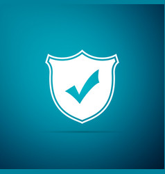 shield with check mark icon on blue background vector image