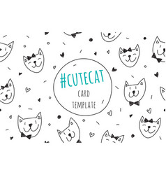 Smile cats faces card vector