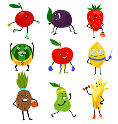 Sport fruits characters funny fruit foods vector
