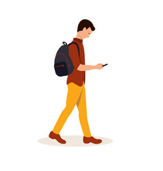 Student going to college flat vector