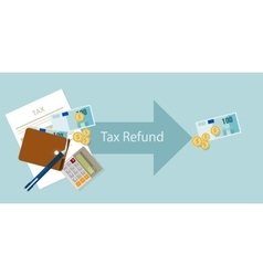 Tax refund money cash after calculation vector image