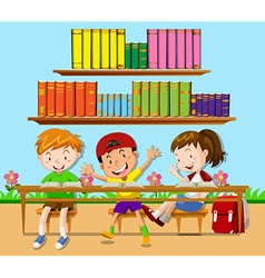 Three students leaning in classroom vector image