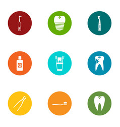 tooth doctor icons set flat style vector image