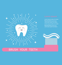tooth icon brush your teeth big toothbrush with vector image