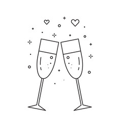 Two glasses champagne line art icon vector