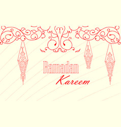 vintage lanterns for ramadan wishing vector image